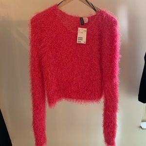 Fuchsia long sleeve fuzzy sweater